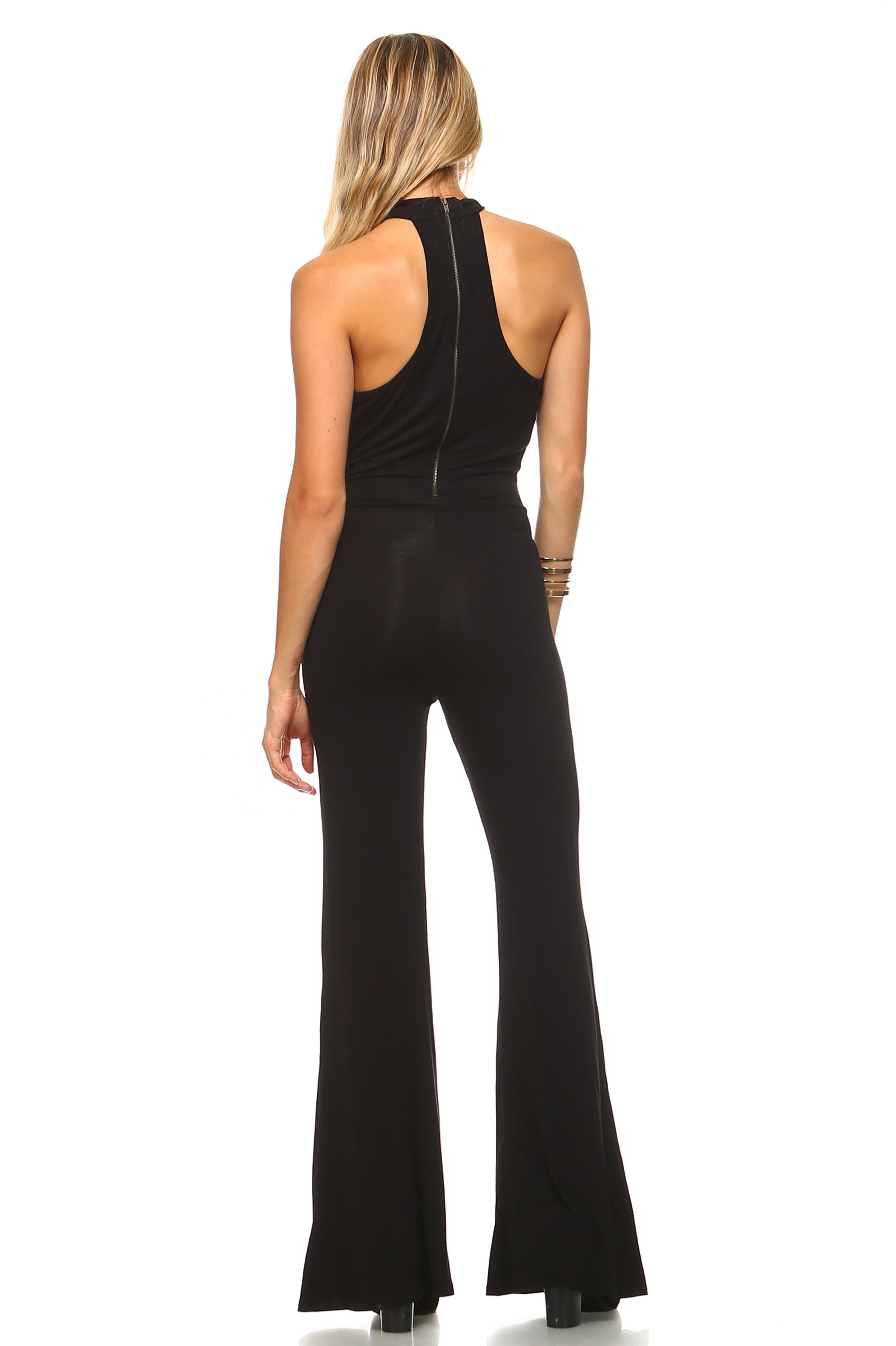 Women's Deep Key Hole Bell Bottom Jumpsuit