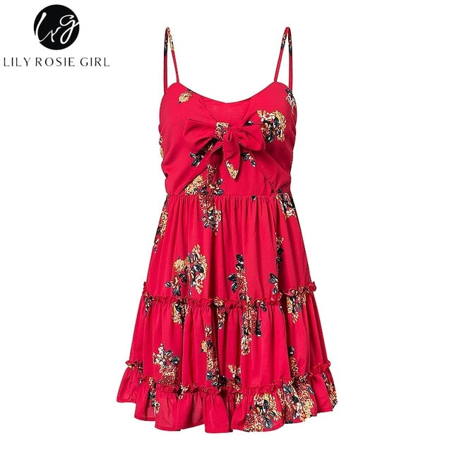 Lily Rosie Girl Red Print Floral Beach Dress Ruffles Spaghetti Strap Sexy Summer Dress Short Casual Boho Dress Vestidos
