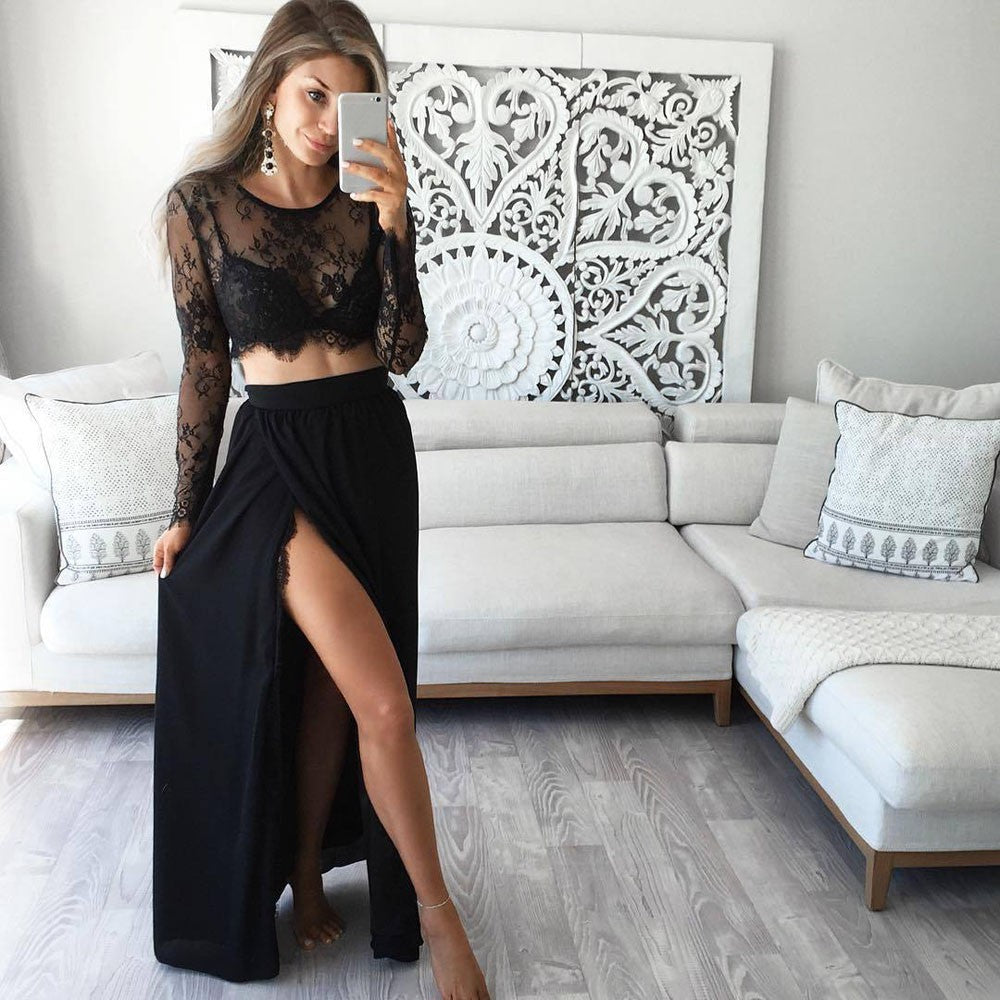 Women's Sexy Long Sleeve Sheer Lace Floral Crop Tops+Bodycon Lace Skirt