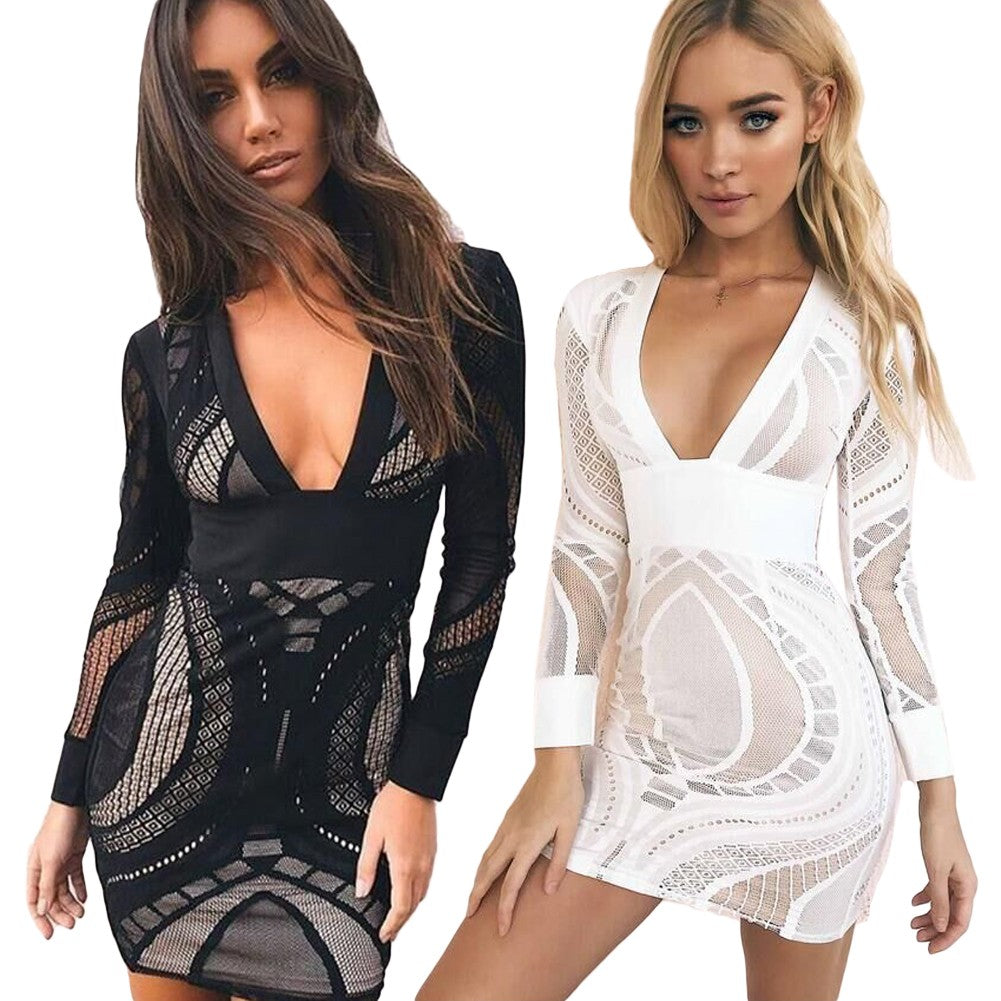 Women Mesh Dress Hollow Out Deep V-Neck Long Sleeve Bodycon Casual Party Dress Black/White