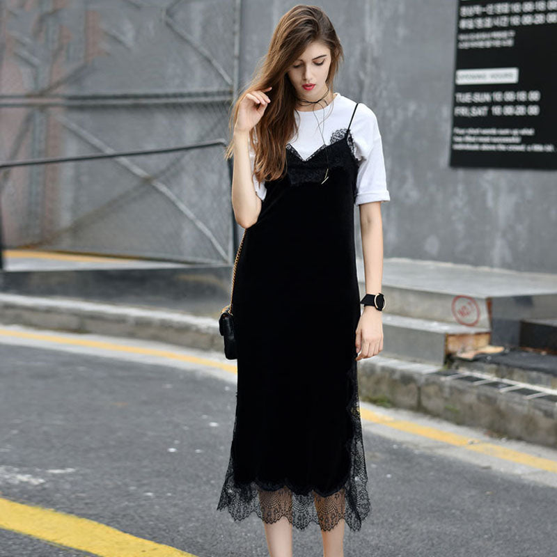 2018 Spring Women Sexy Black Lace Trim Velvet Cami Bodycon Dress Slip Backless Long Evening Party Robe Side Split Velour Dresses