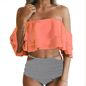 High Waist Ruffle Vintage Bikini Set - Women