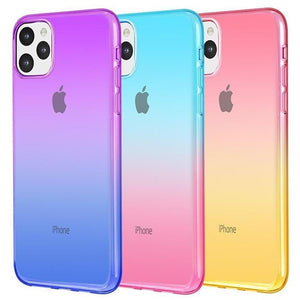 Transparente Doppelfarben Regenbogen Silikon Hülle/Case für IPone 11, 11 Pro, 11 Pro Max, IPhone X , IPhone XS, IPhone XS Max, IPhone XR, IPhone 8, IPhone 8 Plus, IPhone 7, IPhone 7 Plus, IPhone 6&6s, IPhone 6, 6s Plus, IPhone SE, IPhone 5