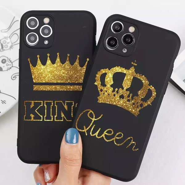 KING & QUEEN Soft Hülle/Case für IPhone 12, 12 Pro, 12 Pro Max, 12 Mini, SE, 11, 11 Pro, 11 Pro Max, X, XS, XS Max, XR, 8, 8 Plus, 7, 7 Plus, 6, 6 Plus, 6s, 6s Plus, 5