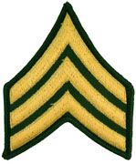 Sergeant Army Rank Insignia Sew On Gold/Green Male
