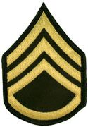 Staff Sergeant Army Rank Insignia Sew On Gold/Green Male