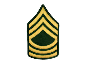 Master Sergeant Army Rank Insignia Sew On Gold on Green Male | Sold Individually