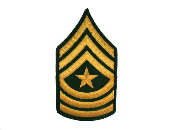 Sergeant Major Army Rank Insignia Sew On Gold on Green Male | Sold Individually