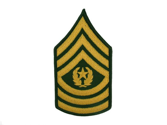 Command Sergeant Major Army Rank Insignia Sew On Gold on Green Male | Sold Individually