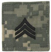 Sergeant Army Rank Insignia Hook and Loop