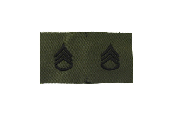 Staff Sergeant Army Rank Insignia Sew On Subdued Fatigue | Sold In Pairs as pictured