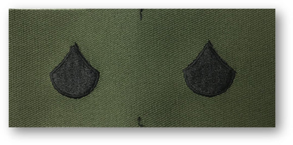 black embroidery on subdued army green fabric