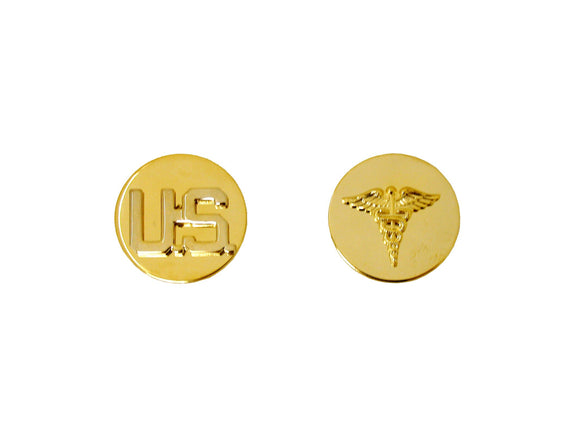 US & Medical Corps Enlisted Sta Brite Collar Pin