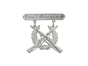MARINE CORPS BADGE, QUALIFICATION RIFLE EXPERT, BRITE | Sold Individually