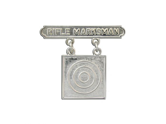 MARINE CORPS BADGE, QUALIFICATION RIFLE MARKSMAN, BRITE | Sold Individually