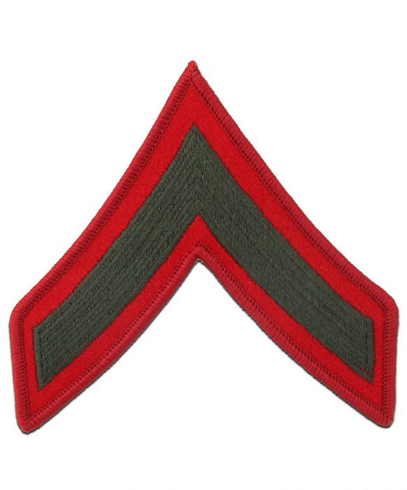 Private First Class Green and Red Marine Corps Chevron Male | Sold in Set of 2