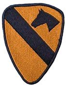 1ST CAVALRY DIVISION REGULAR FULL COLOR ARMY DRESS PATCH, Gold patch black stripe with horse head silhouette