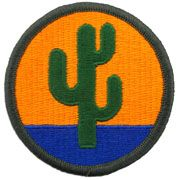 103rd Sustainment Command Full Color Sew On Patch - Yellow and blue background with green cactus embroidered patch