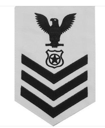 NAVY E6 MALE RATING BADGE: MASTER AT ARMS - WHITE