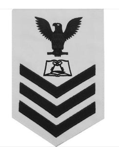 NAVY E6 MALE RATING BADGE: CULINARY SPECIALIST - WHITE with navy blue chevron and eagle