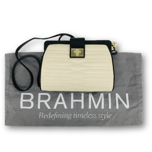 BRAHMIN Crossbody Handbag Creme and Black Pre Owned and LIKE NEW