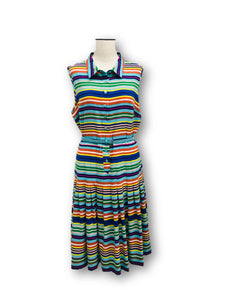 CALVIN KLEIN - Sleeveless Multi Color Stripe Dress