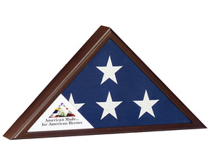Veteran Flag Case Cherry Finish -  Army, Navy, Marines, Air Force, Coast Guard, Fire or Police