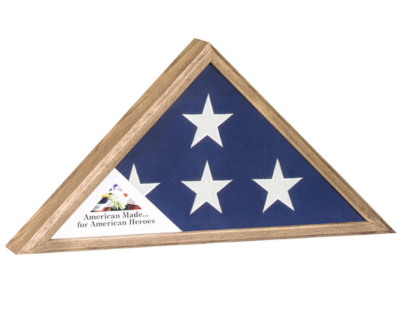Veteran Oak Finish Flag Case -  Army, Navy, Marines, Air Force, Coast Guard, Fire or Police