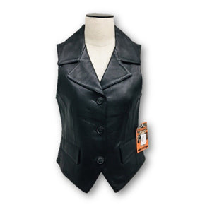 INTERSTATE LEATHER -  Classic Originals Womens Black Moto Leather Vest Size XS NWT