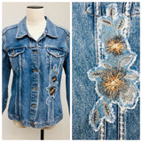 FOR JOSEPH - Ladies Light Blue Denim Jean Jacket with Floral Patch