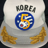 "Korea Gray Snap Back Flat Bill Trucker Hat with Patch and ""Scrambled Eggs"""