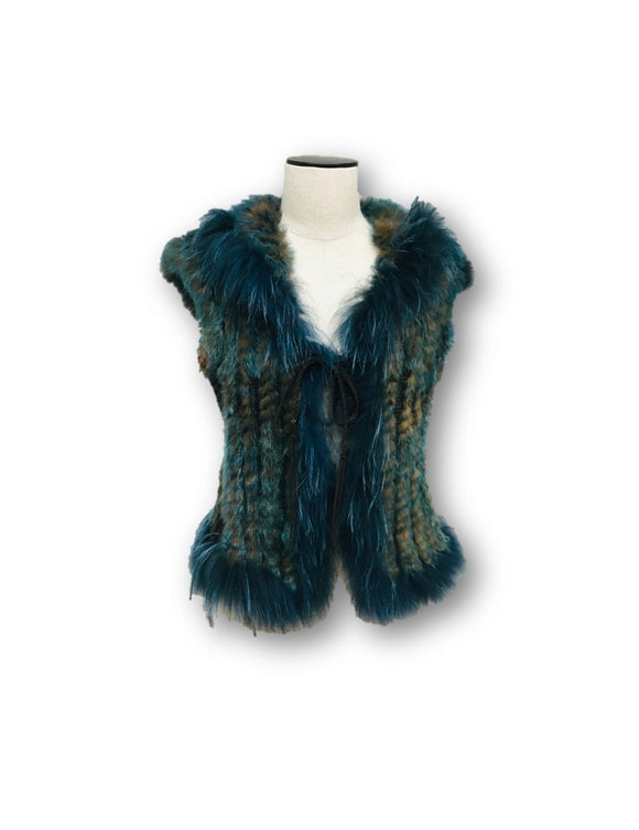 DANA STEIN | Fur and Knit Vest Blue and Brown Size Small