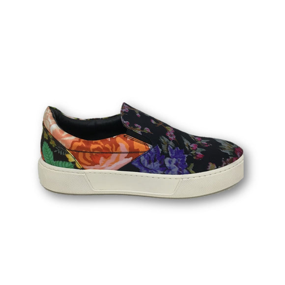 BALENCIAGA Multi Color Floral Printed Fabric Slip On Sneakers Size 37