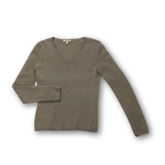 MADISON CASHMERE - Gray V-Neck Cashmere Sweater for Women Size Small