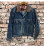 MARLBORO Country Store Denim Jean Jacket with Leather Collar Size