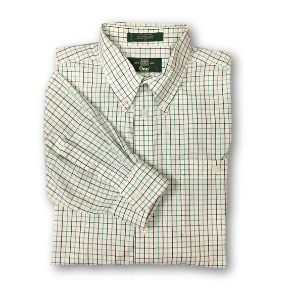 ORVIS - Mens Oxford Button Down Long Sleeve Shirt Navy Green White Plaid Size XL