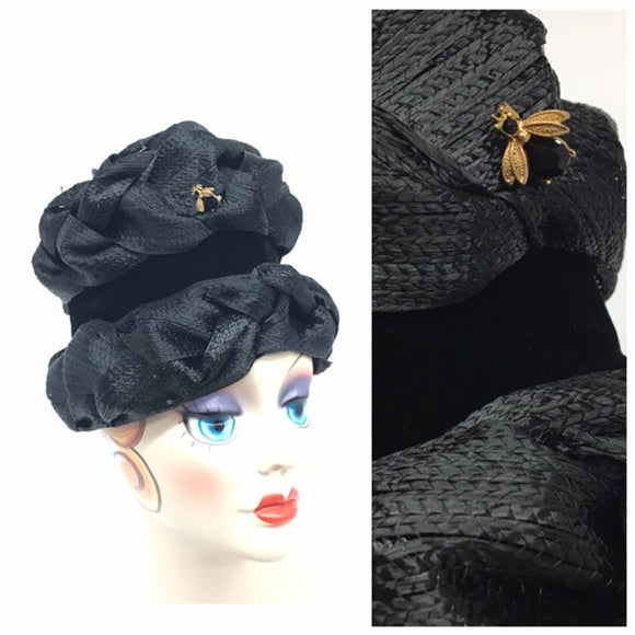 Vintage Black Cloche Hat - AVAILABLE IN OUR ETSY STORE - Click to Open and access link to our Etsy Store