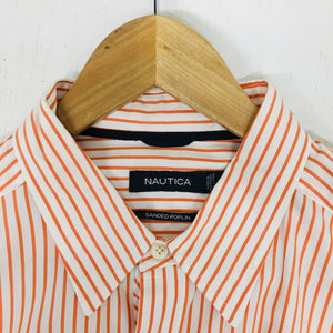 NAUTICA Sanded Poplin Men's Oxford Orange Stripe Shirt Size L