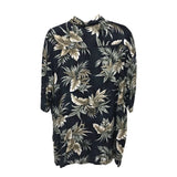 Campia Moda Hawaiian Shirt for Men, Black with Palm Leaves, Size XL