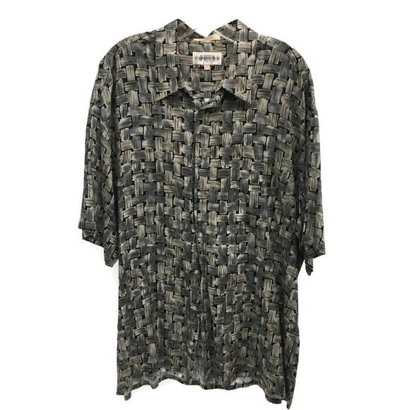 Campia Moda Hawaiian Shirt for Men, Green & Black Herringbone Basket Weave Print, Size XL