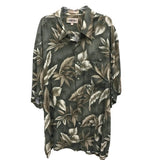 Campia Moda Hawaiian Shirt for Men, Leaf Print with Green Background, Size XL
