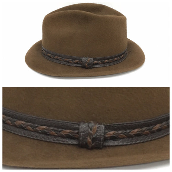 STETSON Fedora Hat Brown with Braided Leather Trim, Rare Find Men's Hat Size 7 1/4