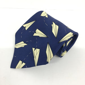 Josh Bach Silk Necktie Royal Blue Paper Airplanes