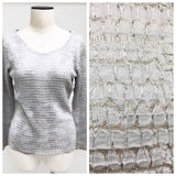 rafael silver knit stretchy top in size large color platinum