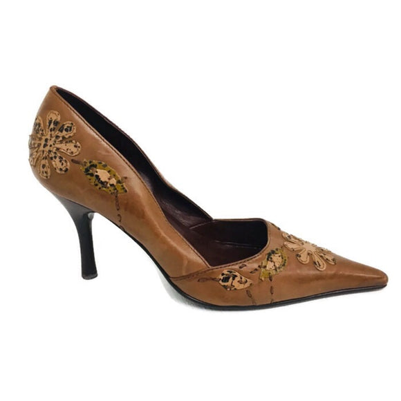 Carlos by Carlos Santana High Heel Stiletto Pointy Toe Shoes Leather Detail Brown Plush Size 8M