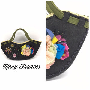 MARY FRANCES Denim Embellished Handbag
