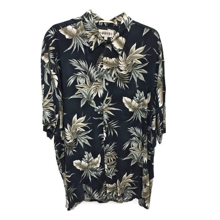 8f1252368 Campia Moda Hawaiian Shirt for Men, Black with Palm Leaves, Size XL