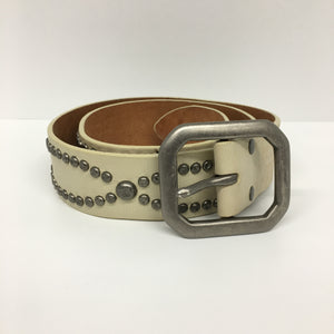 LUCKY BRAND - Belt - Off White Leather with Silver Tone Solid Brass Buckle and Distressed Studs size Medium 34""