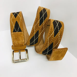 MICHAEL KORS  Suede Leather Belt Brown Argyle Style Size Large