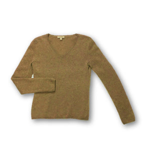 MADISON CASHMERE - Heathered Taupe V-Neck Cashmere Sweater for Women Size Small